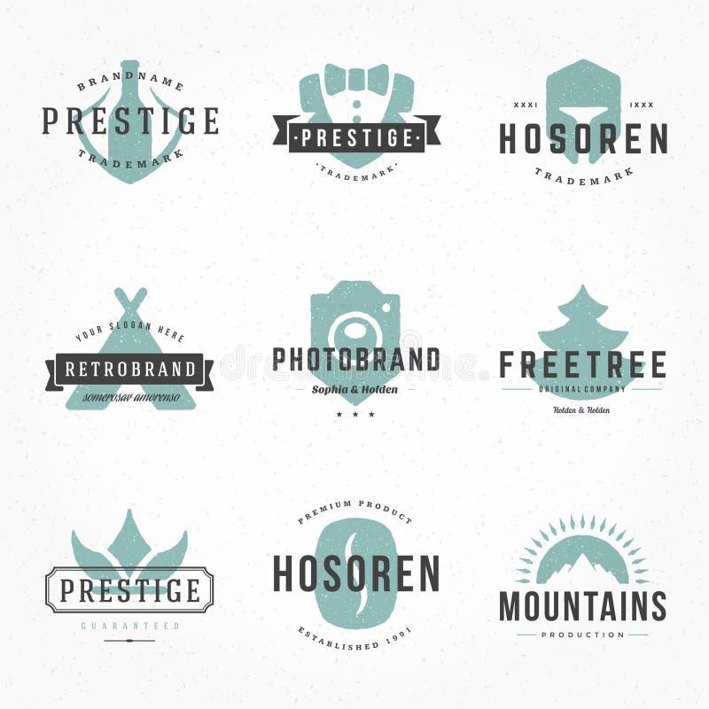 Retro Hand Getrokken Geplaatste Emblemen Vectormalplaatjes De Emblemen van de handtekening, Hand Getrokken Pictogrammen, Hand Get vector illustratie