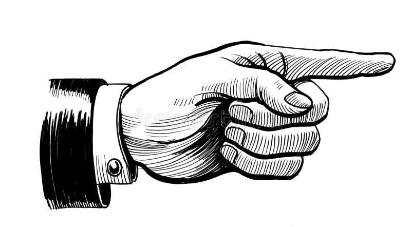 Retro hand pointing right royalty free illustration
