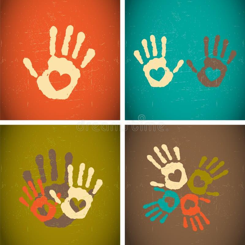 Retro handprints di amore di stile dell'annata illustrazione di stock