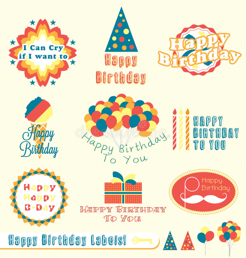 Retro Happy Birthday Labels and Stickers vector illustration