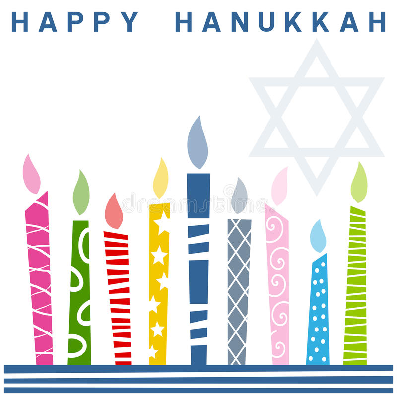 Retro Happy Hanukkah Card [1]. A Happy Hanukkah greeting card with a stylized and retro Hanukkah Menorah (or Hanukiah). You can find other similar illustrations