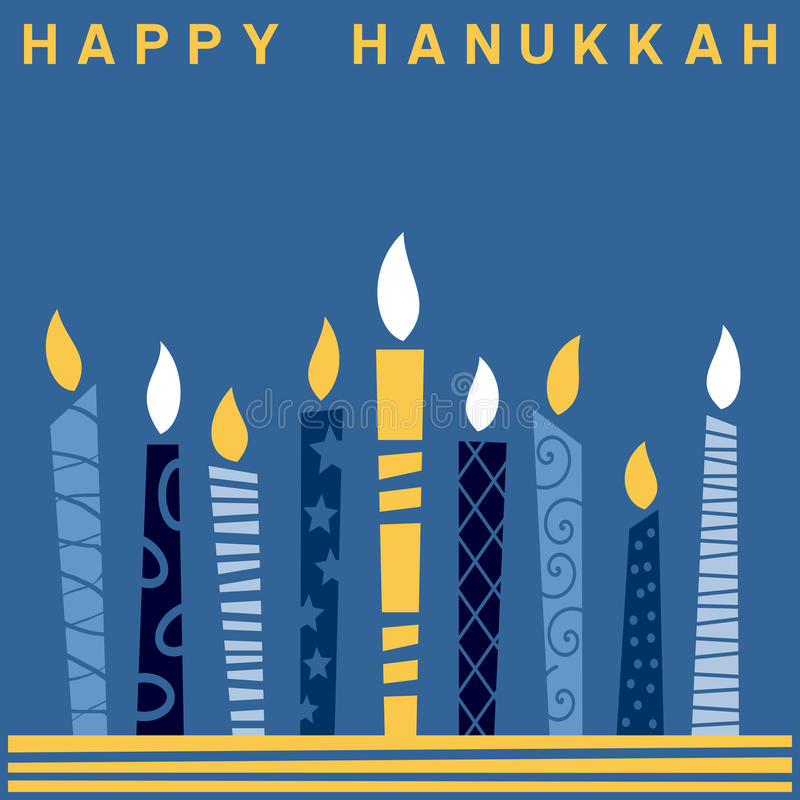 Retro Happy Hanukkah Card [2]. A Happy Hanukkah greeting card with a stylized and retro Hanukkah Menorah (or Hanukiah). Eps file available