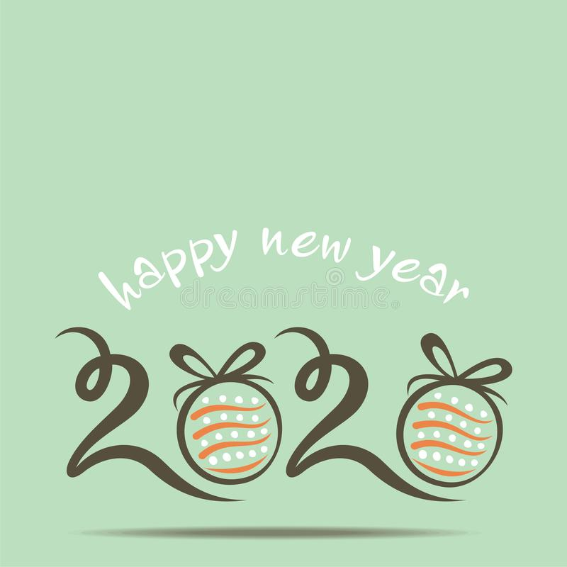 Retro Happy new year 2020 card design concept stock images