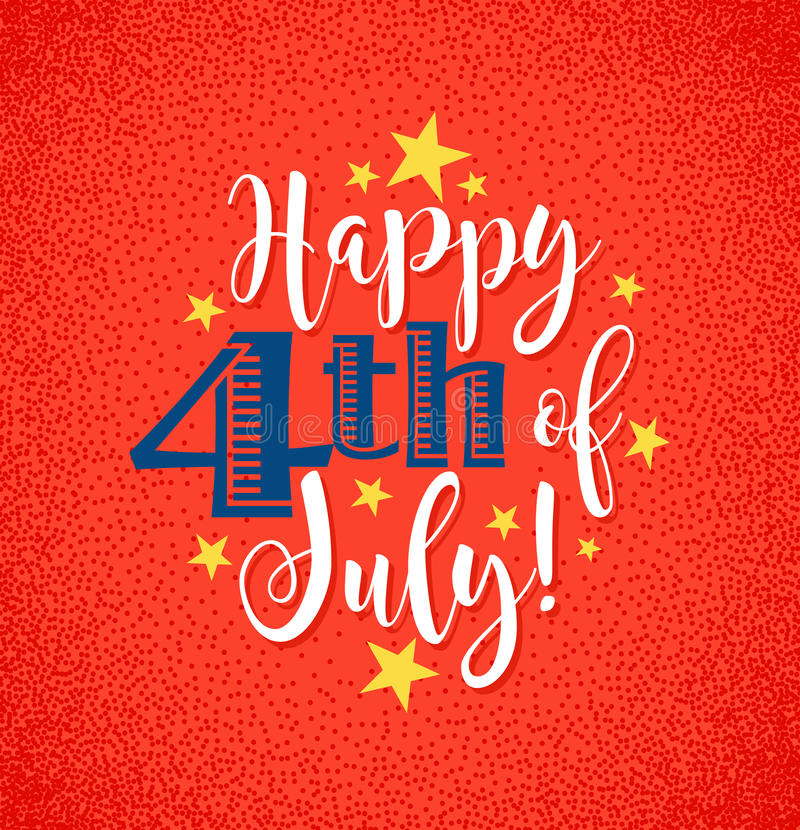 Retro Happy 4th of July typography design. For greeting cards, web page banners, posters vector illustration