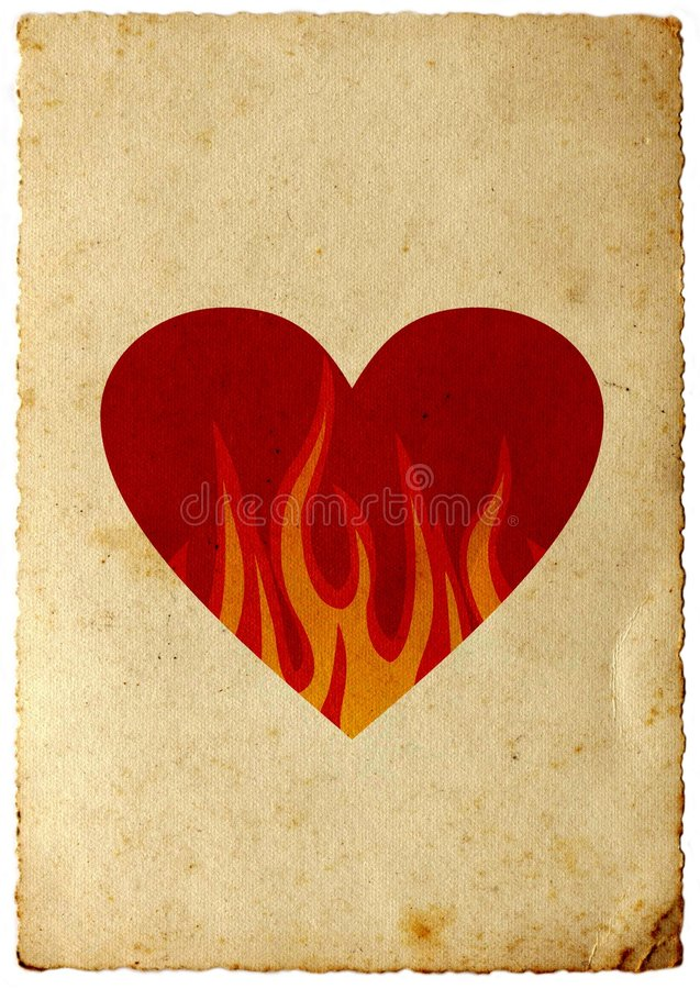 Retro hart in vlammen stock illustratie