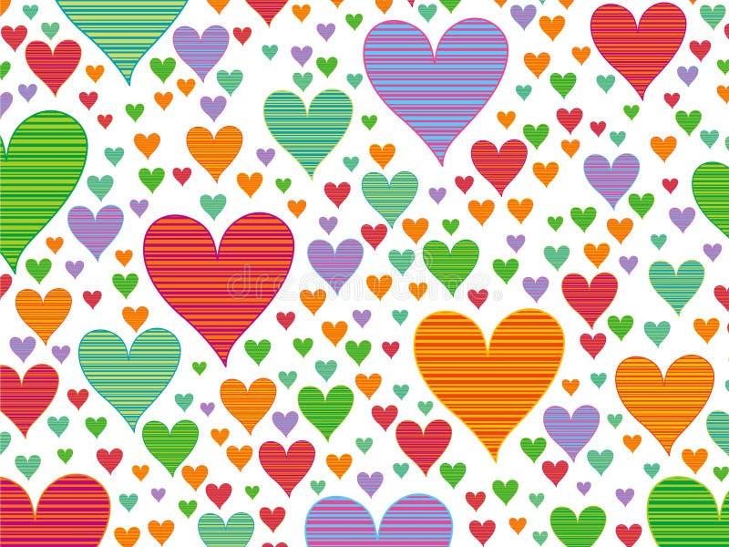 Retro harten van het strepensuikergoed royalty-vrije illustratie