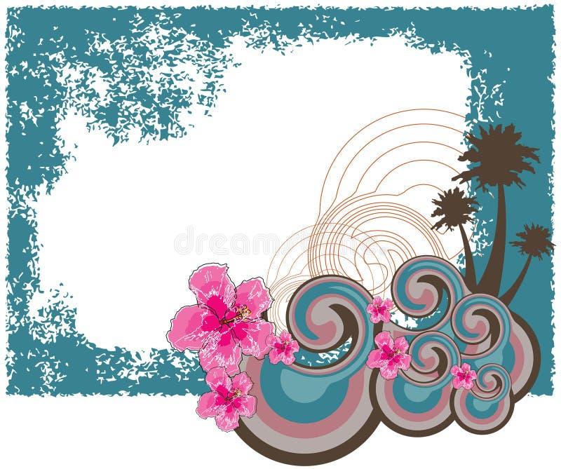 retro hawaiansk hibiskus för ram vektor illustrationer