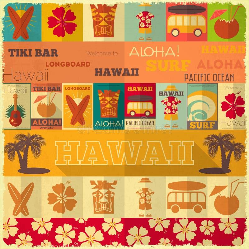 Retro Hawaii kort royaltyfri illustrationer