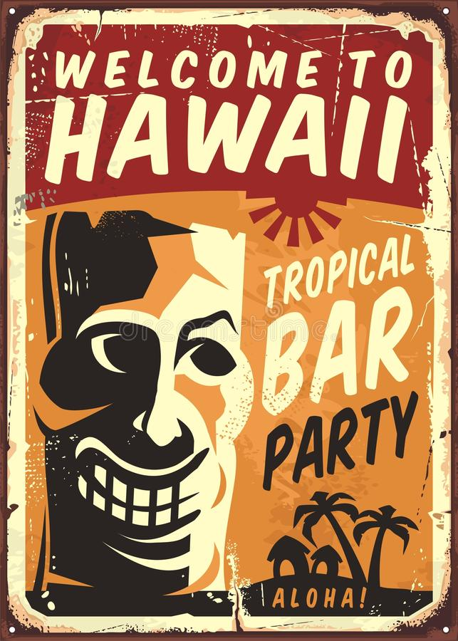 Retro Hawaii metal sign for tropical bar. Vector poster template with Tiki mask on old grunge yellow background royalty free illustration