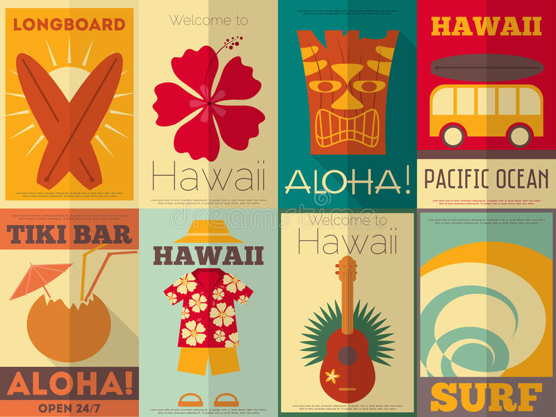 Retro Hawaii posters collection. Hawaii Surf Retro Posters Collection in Flat Design Style. Illustration