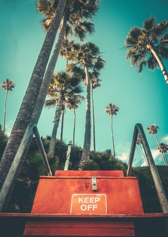 Retro Hawaii strandlivr?ddare Chair arkivfoto
