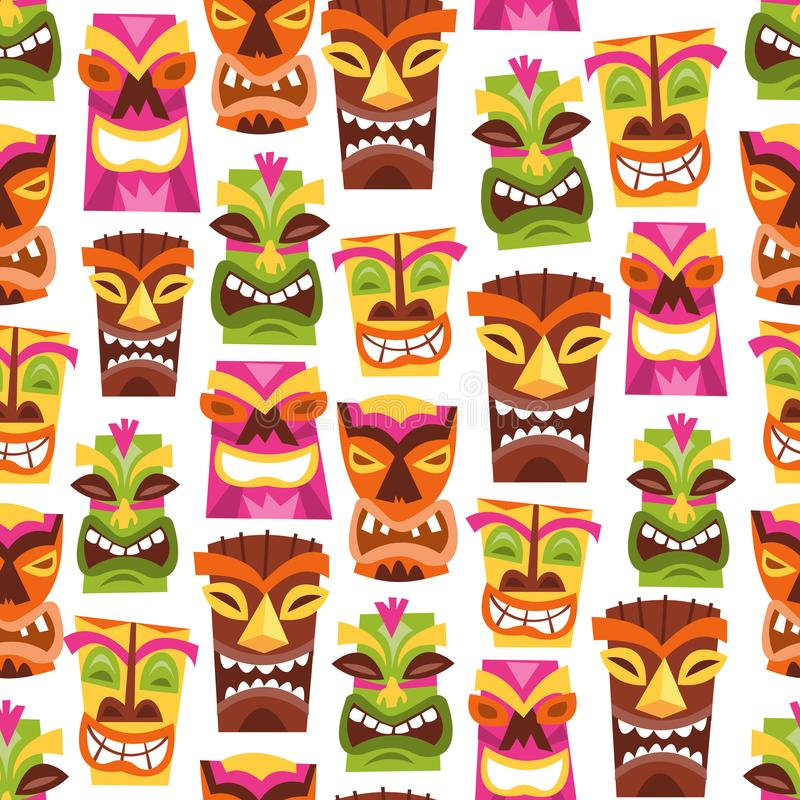 Retro Hawaiiaanse Luau-Partij Tiki Seamless Pattern Background royalty-vrije illustratie