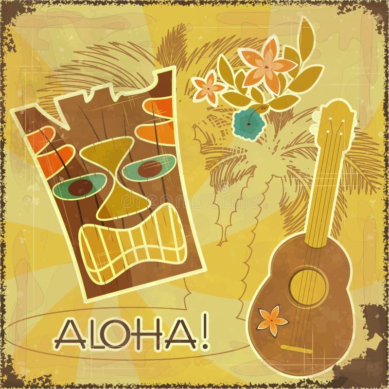 Retro Hawaiiaanse prentbriefkaar royalty-vrije illustratie