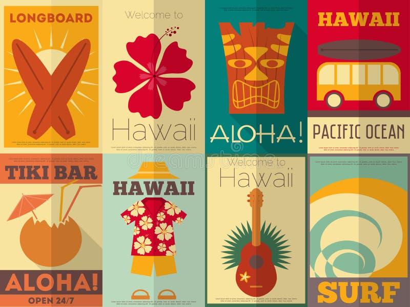 Retro Hawaje plakaty inkasowi ilustracja wektor