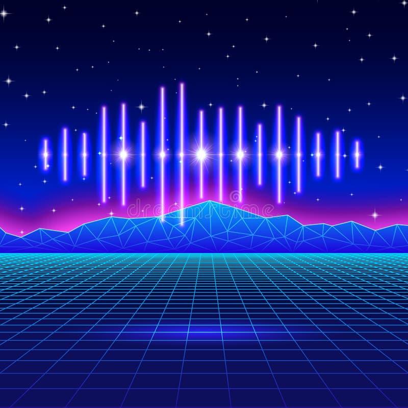 Retro hazardu neonowy tło z błyszczącą muzyki fala royalty ilustracja