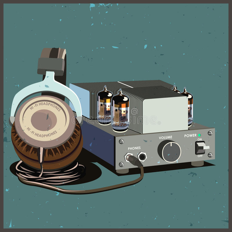 Retro headphones and amplifier. Stylized vector composition on the theme of speakers, amplifiers, receivers, headphones, etc. retro lamp amplifier and headphones vector illustration