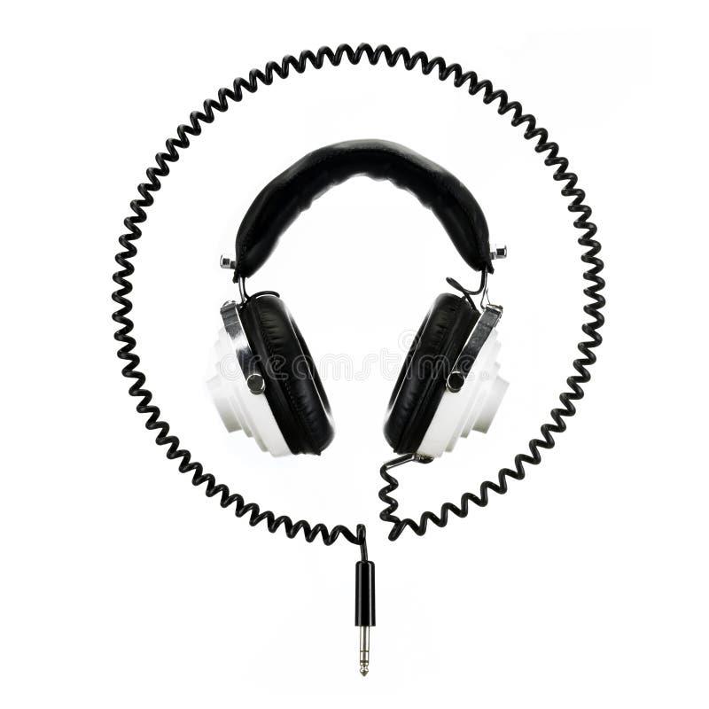 Retro headphones isolated on white royalty free stock photos