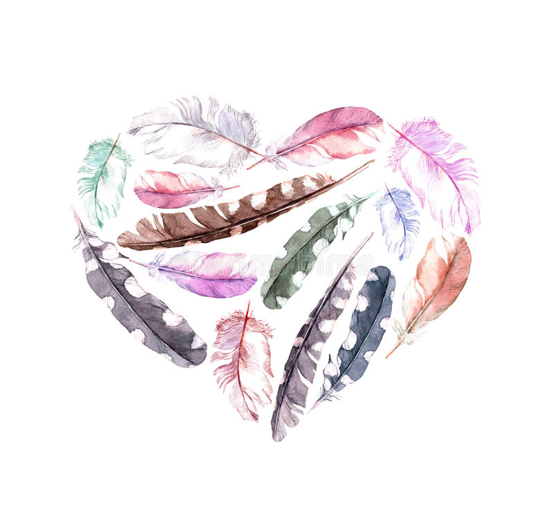 Retro heart with bird feathers. Vintage watercolor royalty free illustration