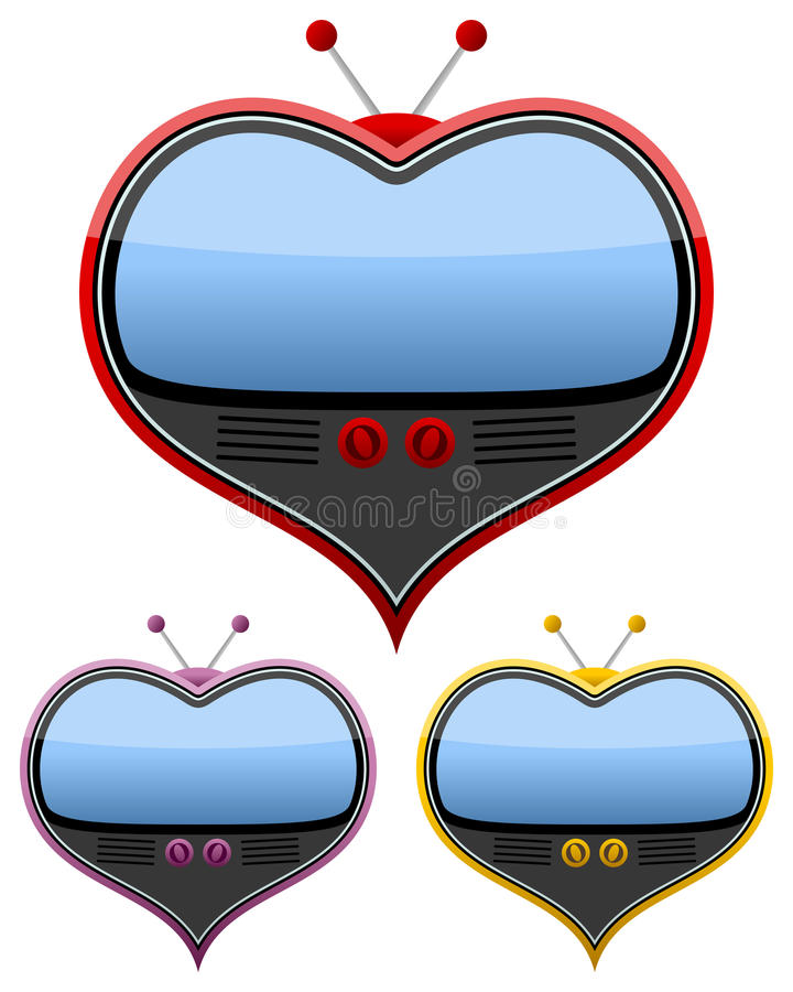 Download Retro Heart Shaped Television Set Stock Vector - Illustration of multimedia, february: 36221603