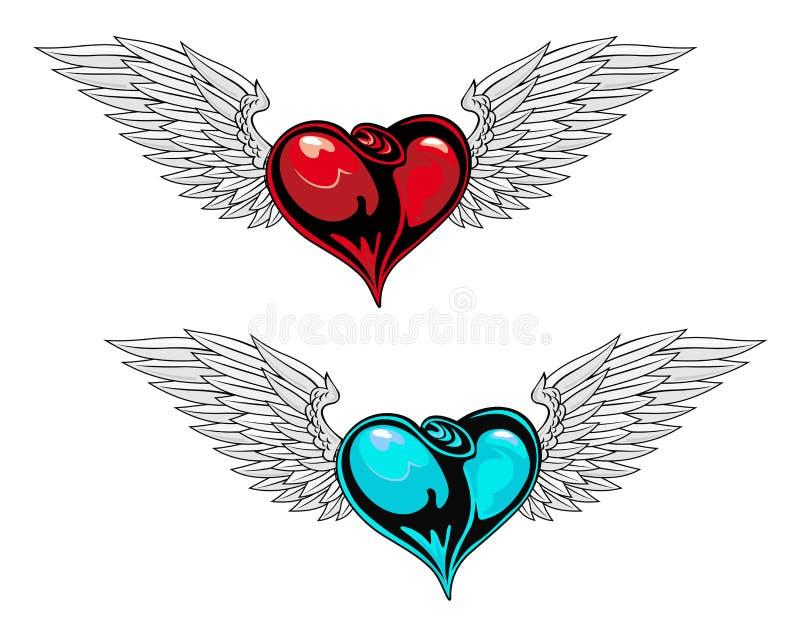 Retro heart tattoo vector illustration