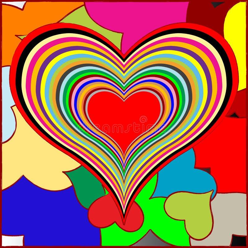 Retro hearts. Vector art illustration stock illustration