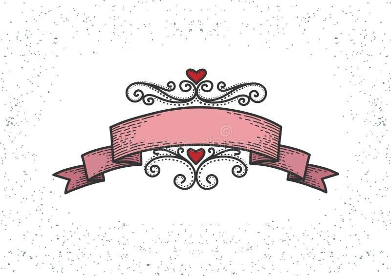 Retro hearts, red ribbon stock illustration