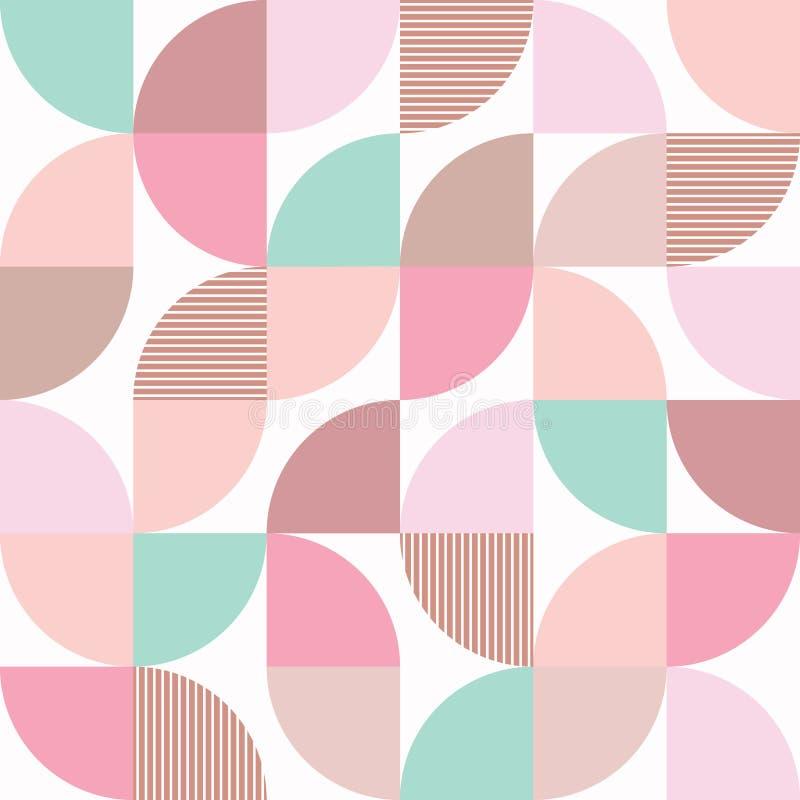 Retro helft-cirkels vector naadloos patroon in munt, roze en beige kleuren op wit Verse vrouwelijke geometrische achtergrond stock illustratie