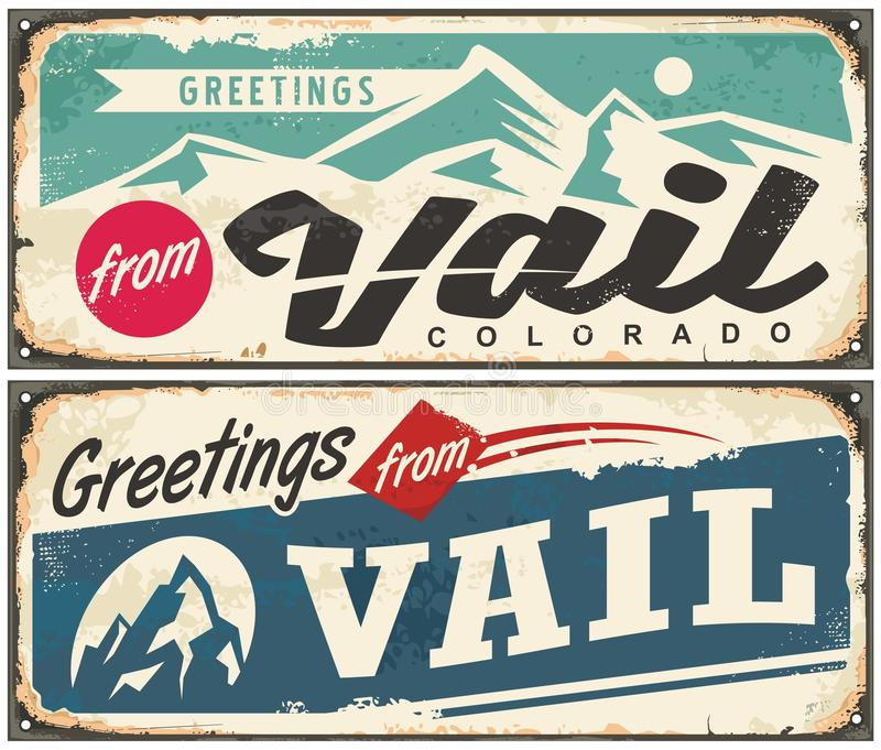 Retro herinnering van Vailcolorado van de bestemming van de de wintervakantie stock illustratie