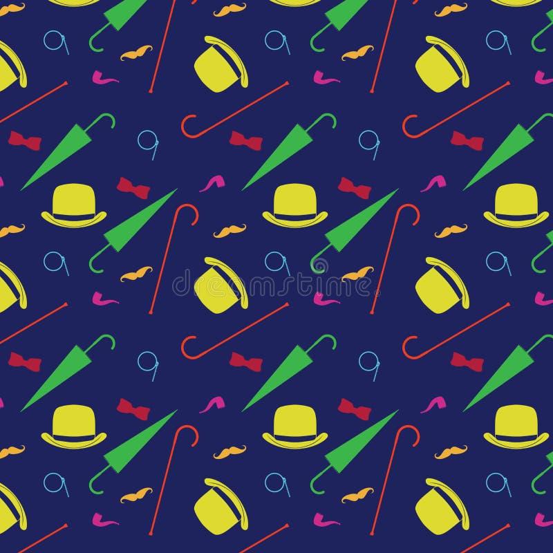 Retro- Herrelemente - Werfer, Schnurrbart, nahtloses Muster des Tabakpfeifemonokels, des Stocks und des Regenschirmes stock abbildung