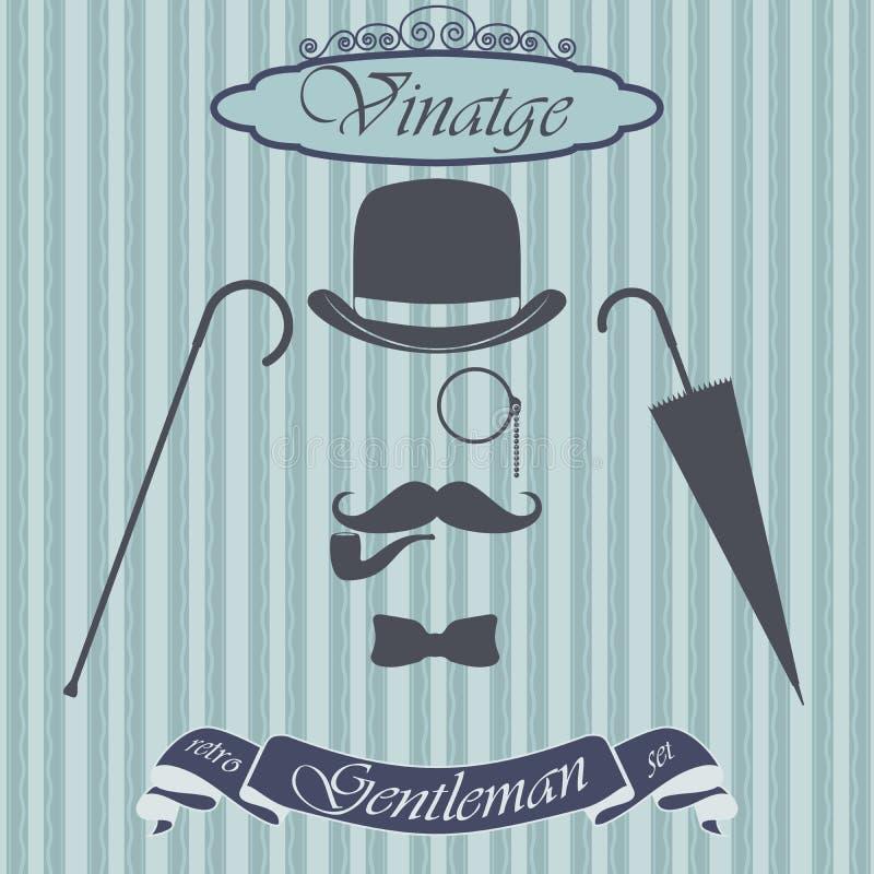 Retro- Herrelementsatz - Werfer, Schnurrbart, Tabakpfeifemonokel, Stock und Regenschirm, auf Hippie-Hintergrund Weinlesezeichen-D stock abbildung