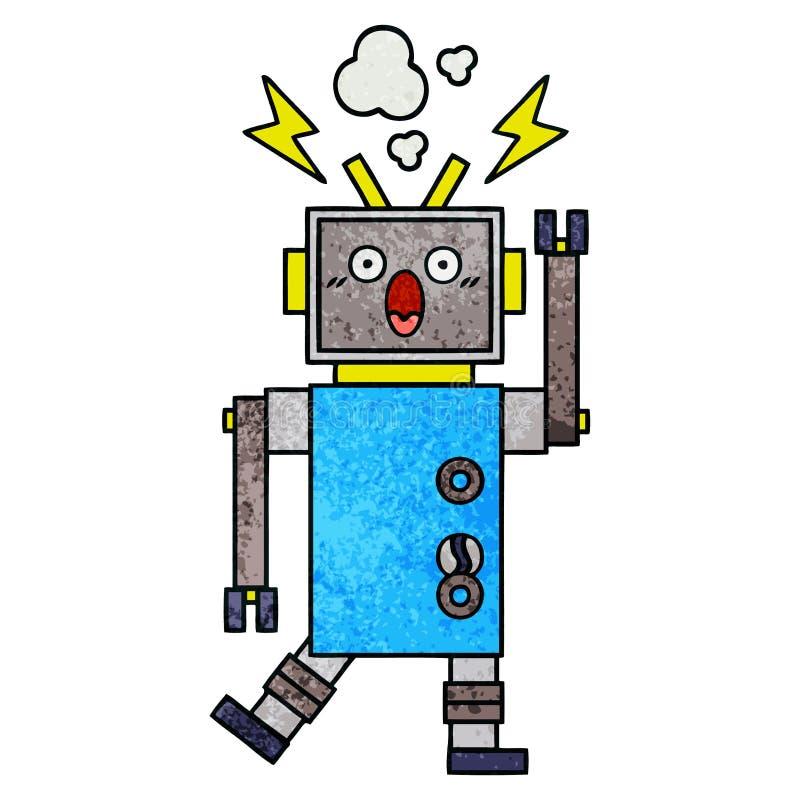 retro het beeldverhaal defecte robot van de grungetextuur vector illustratie