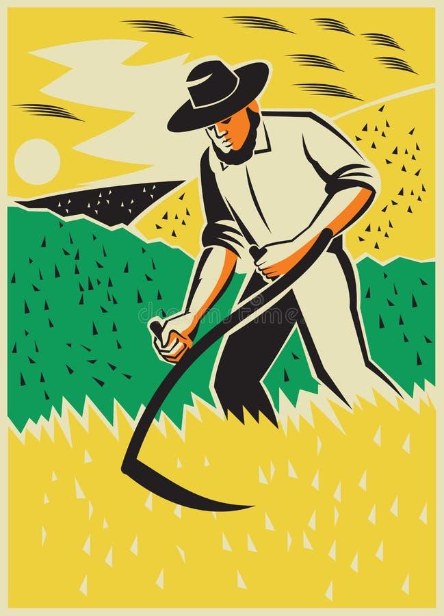 Retro het Gebied van landbouwerswith scythe harvesting stock illustratie