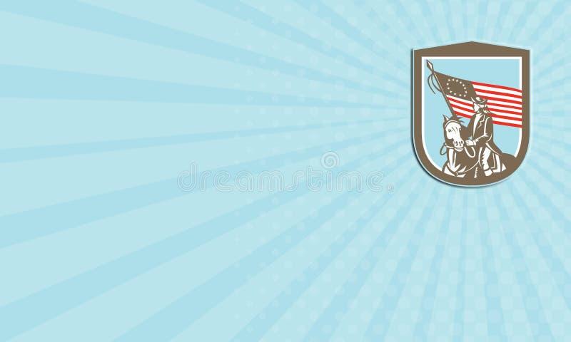 Retro het Paardvlag van de adreskaartje Amerikaanse Revolutionaire Militair vector illustratie