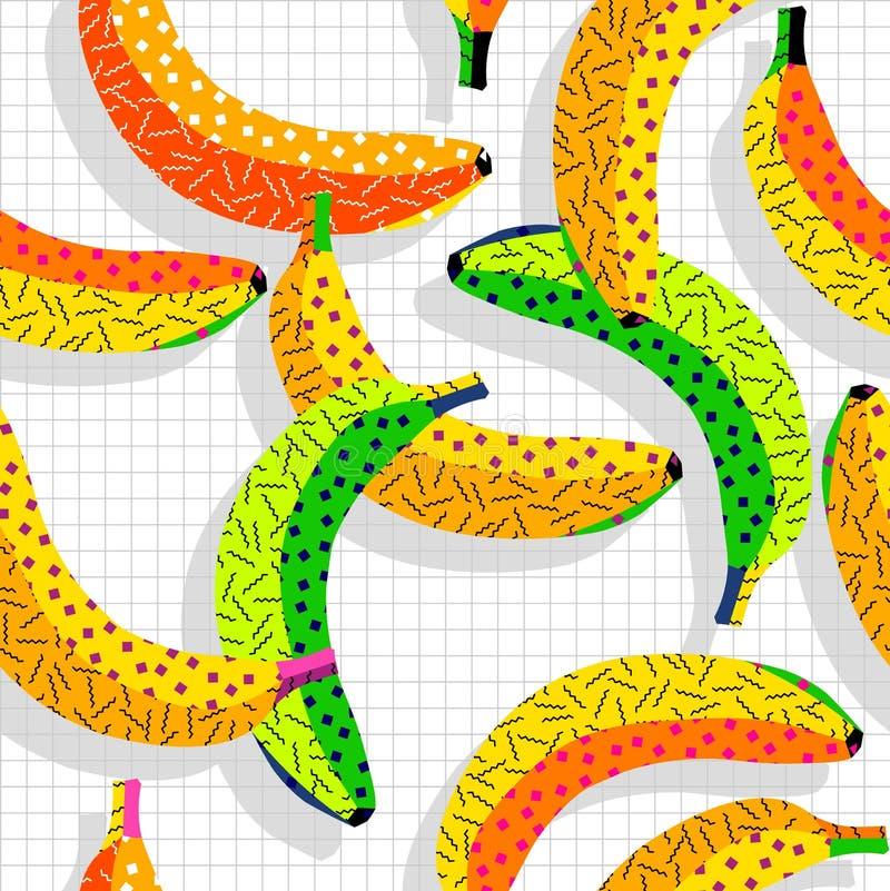Retro het patroonachtergrond van de de jaren '80banaan vector illustratie