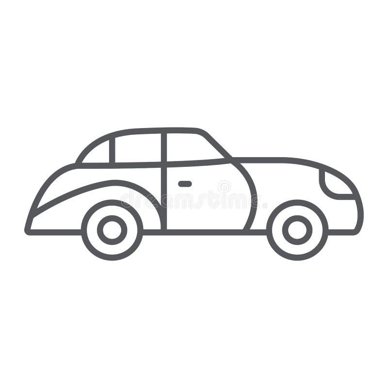 Retro het pictogram van de auto dunne lijn, uitstekende en automobiele, oude autoteken, vectorafbeeldingen, een lineair patroon o vector illustratie