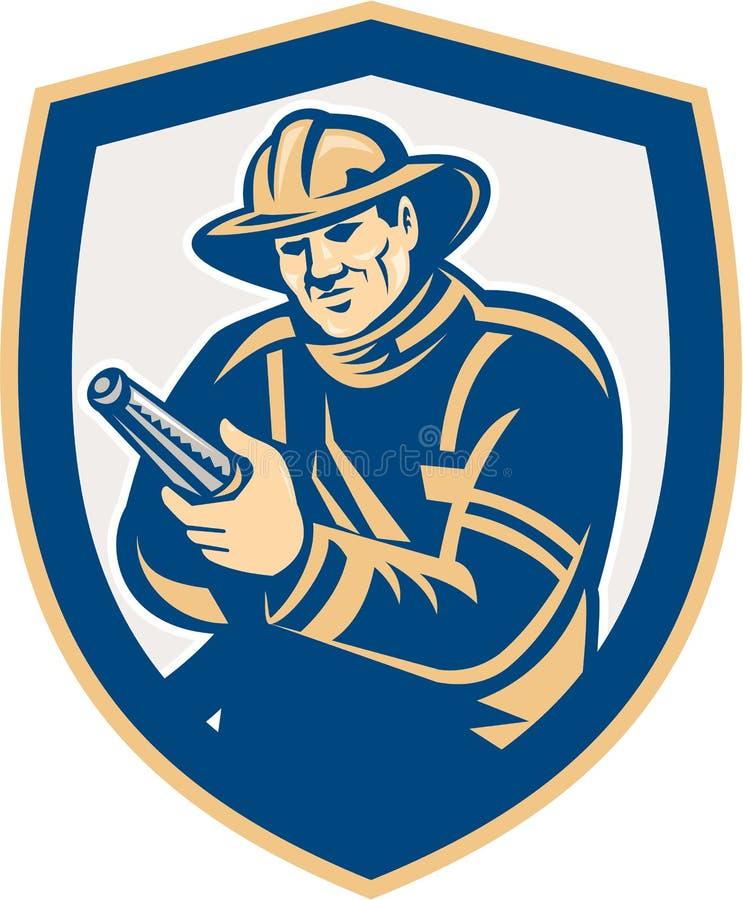 Retro het Schild van Aiming Fire Hose van de brandweermanbrandbestrijder stock illustratie