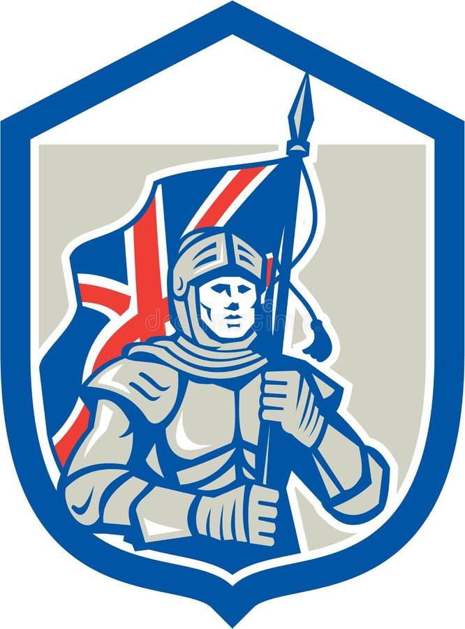 Retro het Schild van ridderholding british flag vector illustratie