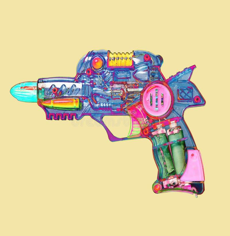 Retro het stuk speelgoed van het straalkanon heldere kleur royalty-vrije illustratie