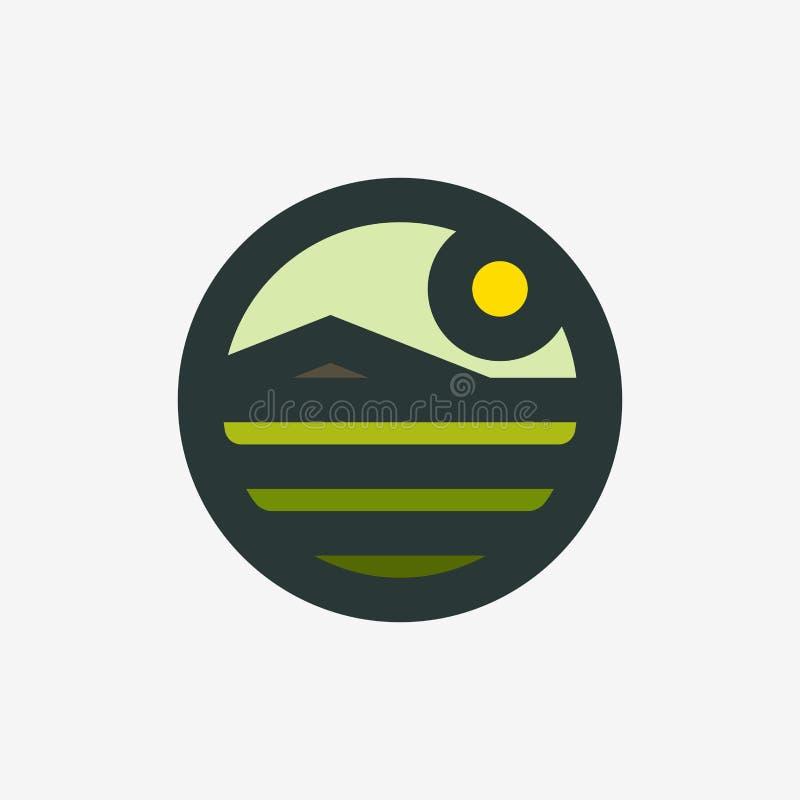 Retro het tekenmalplaatje van het stijl geometrisch embleem of pictogram van landelijk landschap met landbouwgebied en berg vector illustratie
