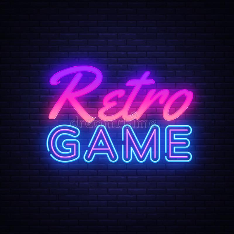 Retro het tekenvector van het Spelenneon Het neonteken van de gokkenontwerpsjabloon, lichte banner, neonuithangbord, nightly held stock illustratie