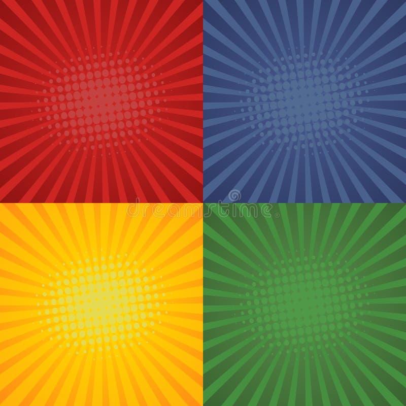 Retro- Hintergründe der Pop-Art im komischen Entwurf Gesetzte starburst Hintergründe Vektor lizenzfreie abbildung