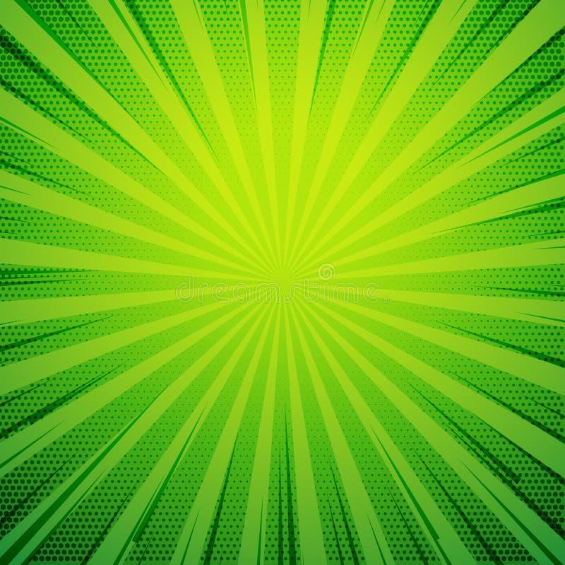 Retro- Hintergrund der grünen Pop-Arten-Comic-Buch-Art mit dem Explodieren von r lizenzfreie abbildung