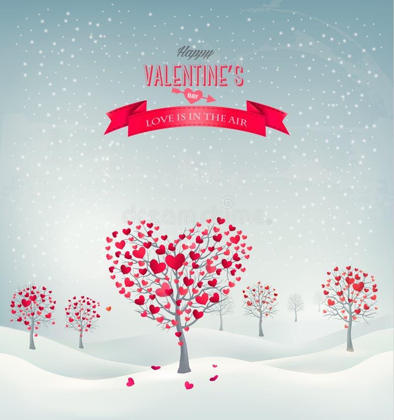 Retro- Hintergrund des Feiertags. Valentinsgrußbäume mit hea vektor abbildung