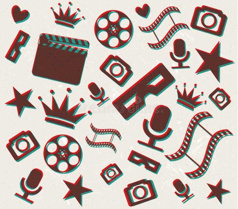 Retro- Hintergrund Des Kinos 3d Lizenzfreies Stockfoto