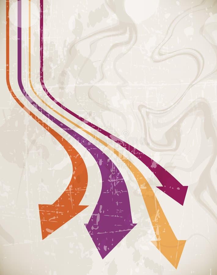 Retro- Hintergrund des Wellenpfeiles stock abbildung