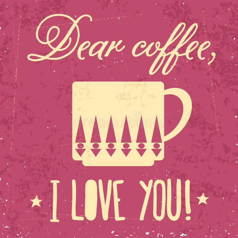 Retro- Hintergrund mit Kaffeezitat lizenzfreie abbildung