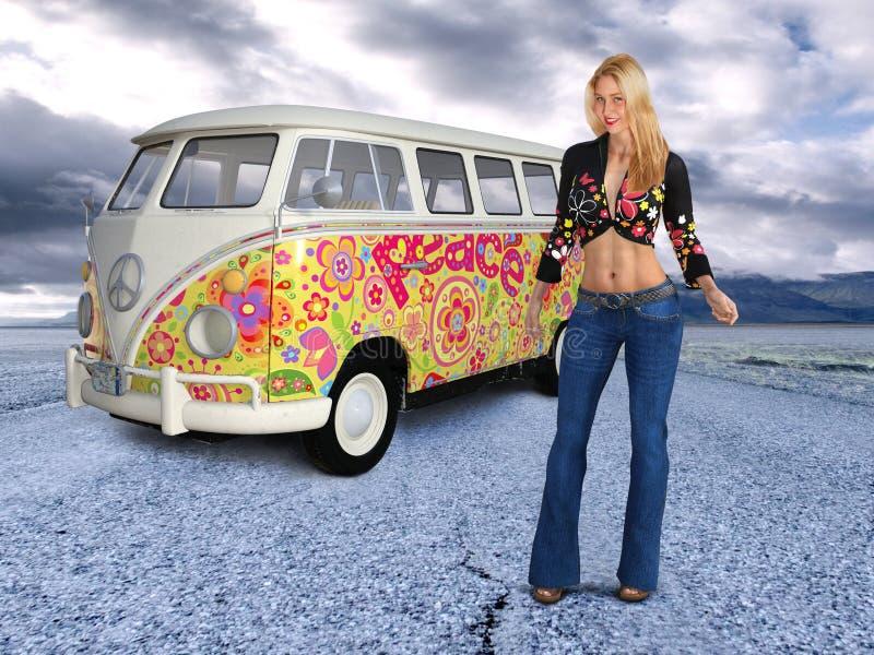 Retro Hippie Girl, Peace, Love fotografia stock