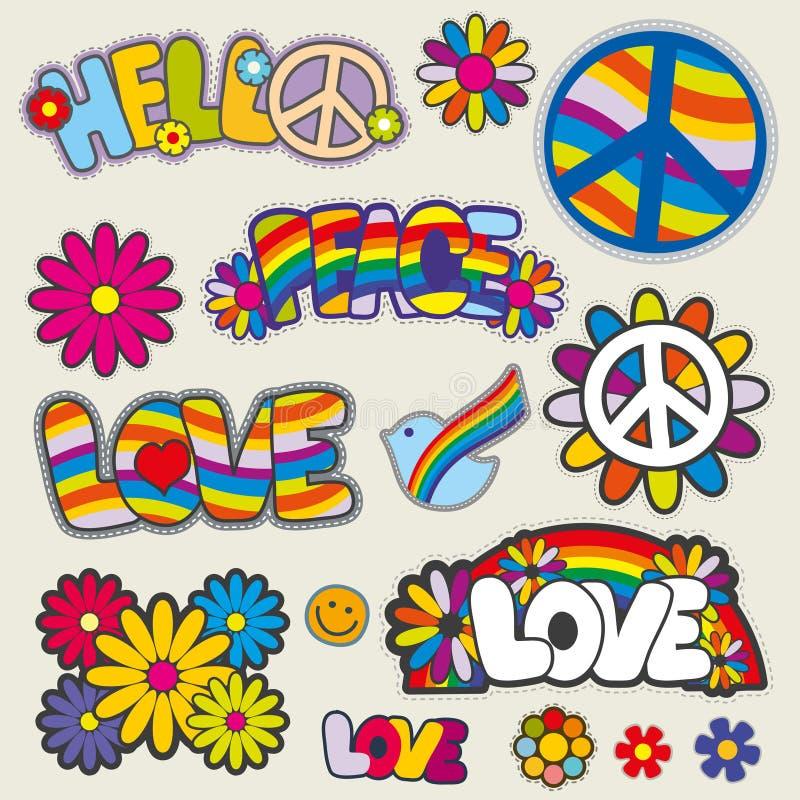 Retro hippie herstelt vectoremblemen stock illustratie