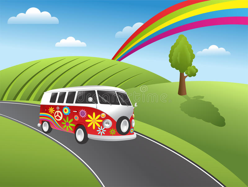 Retro hippie van. Illustration representing a retro camper van on road. Flower power