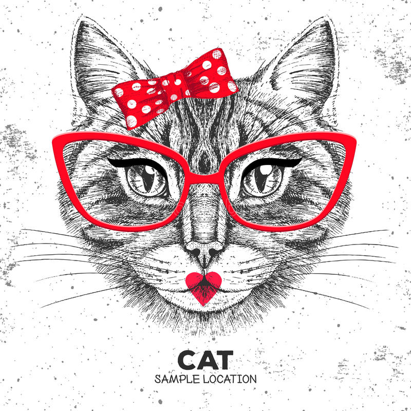 Retro Hipster animal cat. Hand drawing Muzzle of animal cat. Girl of 60s royalty free illustration